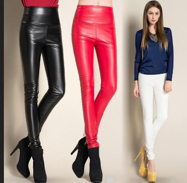 2018 сгъваеми зимни кожени дамски панталони с висока талия еластична поларисвам тънък жена молив панталон бонбони цветове безплатна доставка  t