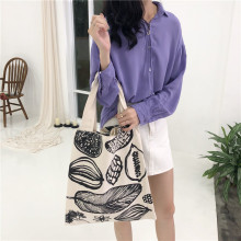 New Japan and South Korea wind canvas bag leaf print thickening shopping bag ladies large shoulder bag shopping tote bag