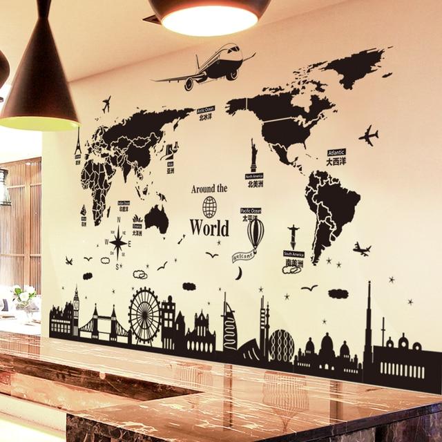 SHIJUEHEZI] World Map Wall Stickers DIY Europe Style Buildings Wall ...