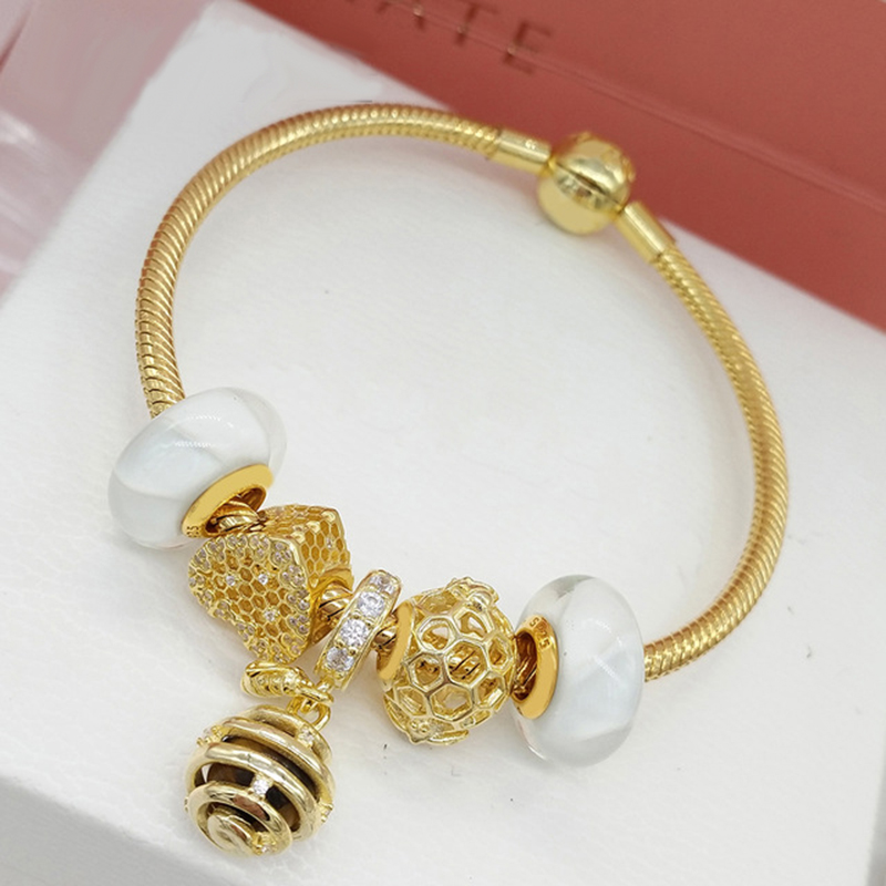 100% 925 Sterling Silver SHINE Honeybee Charm Honeycomb Lace Charm Shine Queen Bee Pendant Gold Sweet Bracelet Set