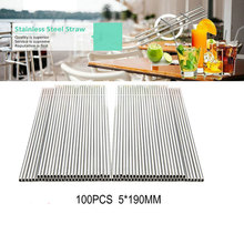 Reusable 100PCS/Lot 5*190mm Metal Straw Stainless Steel for Child and Adult Factory Wholesale