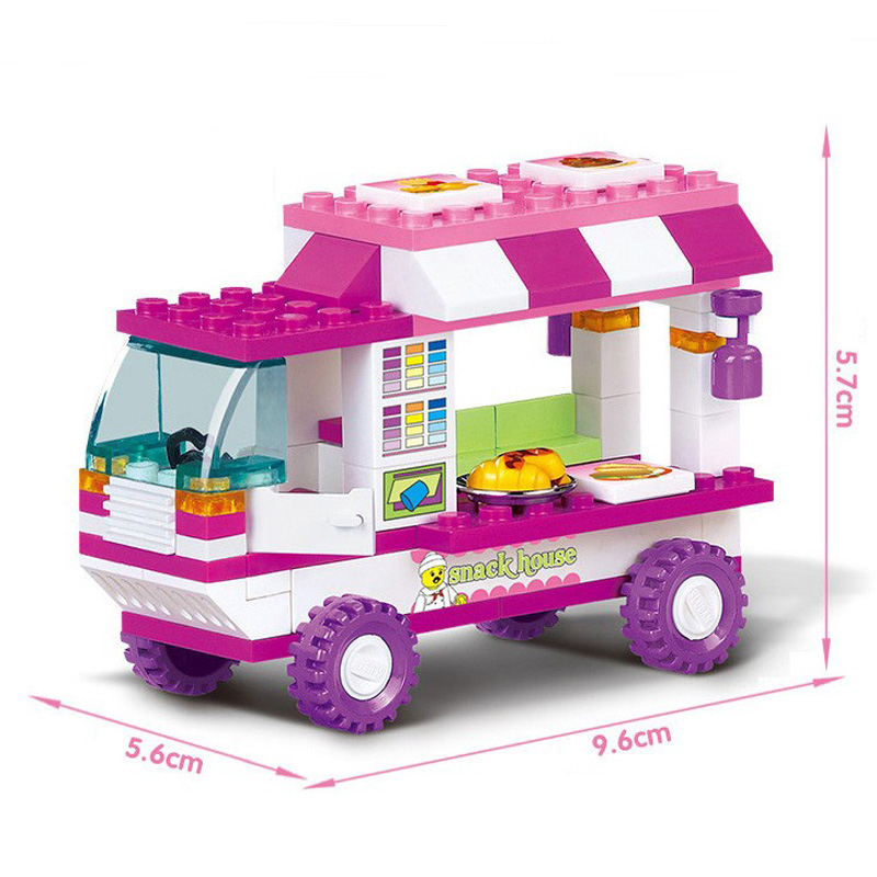 0155 102Pcs City Old Vans Snack House Car Building Blocks Sets Girls Friends Creator Bricks Toys for Girls in Blocks from Toys Hobbies