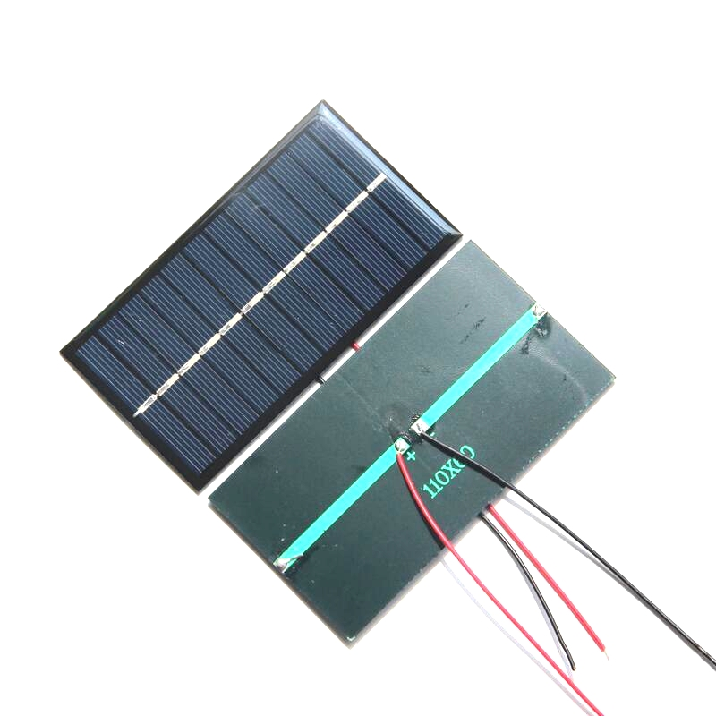 High Quality 1W 6V Mini Solar Cell+Cable Epoxy Solar Panel DIY Solar Module Education Kits 12PCS/Lot 110*60*3MM Free Shipping
