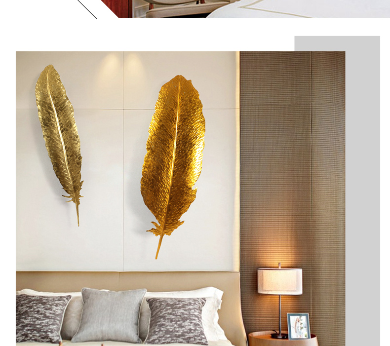 European Gold Wrought Iron Luxury 3D Wall Hanging Feather Crafts Decoration Hotel Home Livingroom Wall Sticker Mural Ornaments