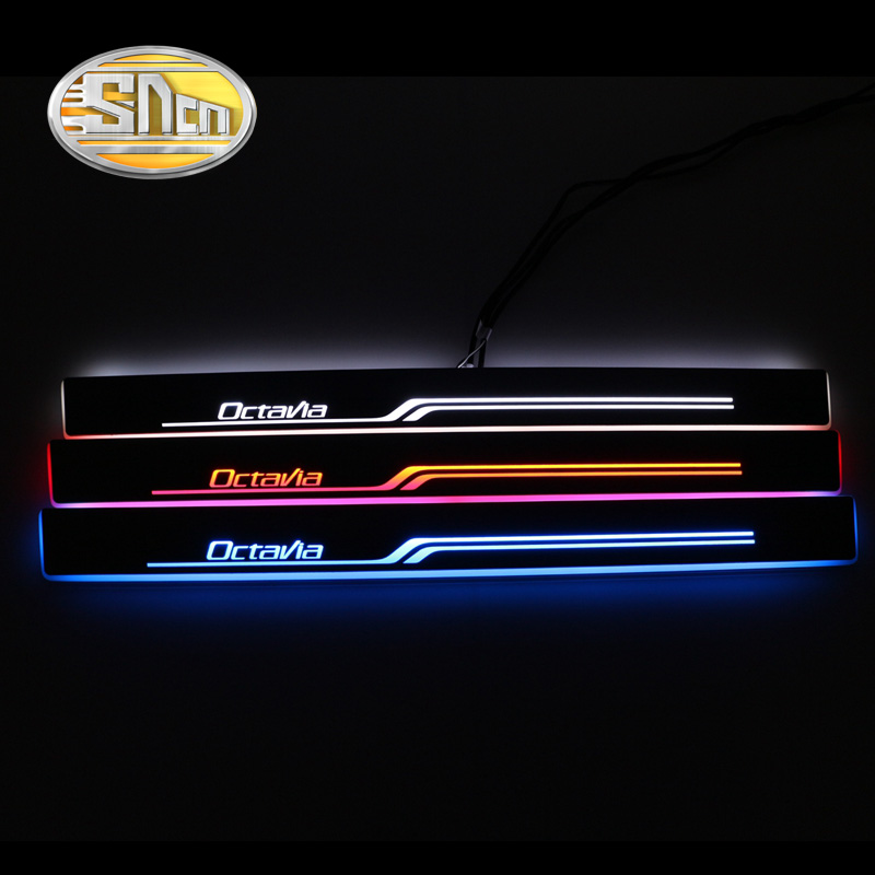 SNCN Waterproof Acrylic Moving LED Welcome Pedal Car Scuff Plate Pedal Door Sill Pathway Light For Skoda Octavia A7 2014 - 2016 cool 4 pcs custom car front rear led moving door sill scuff plate welcome pedal threshold for toyota corolla 2014 2015