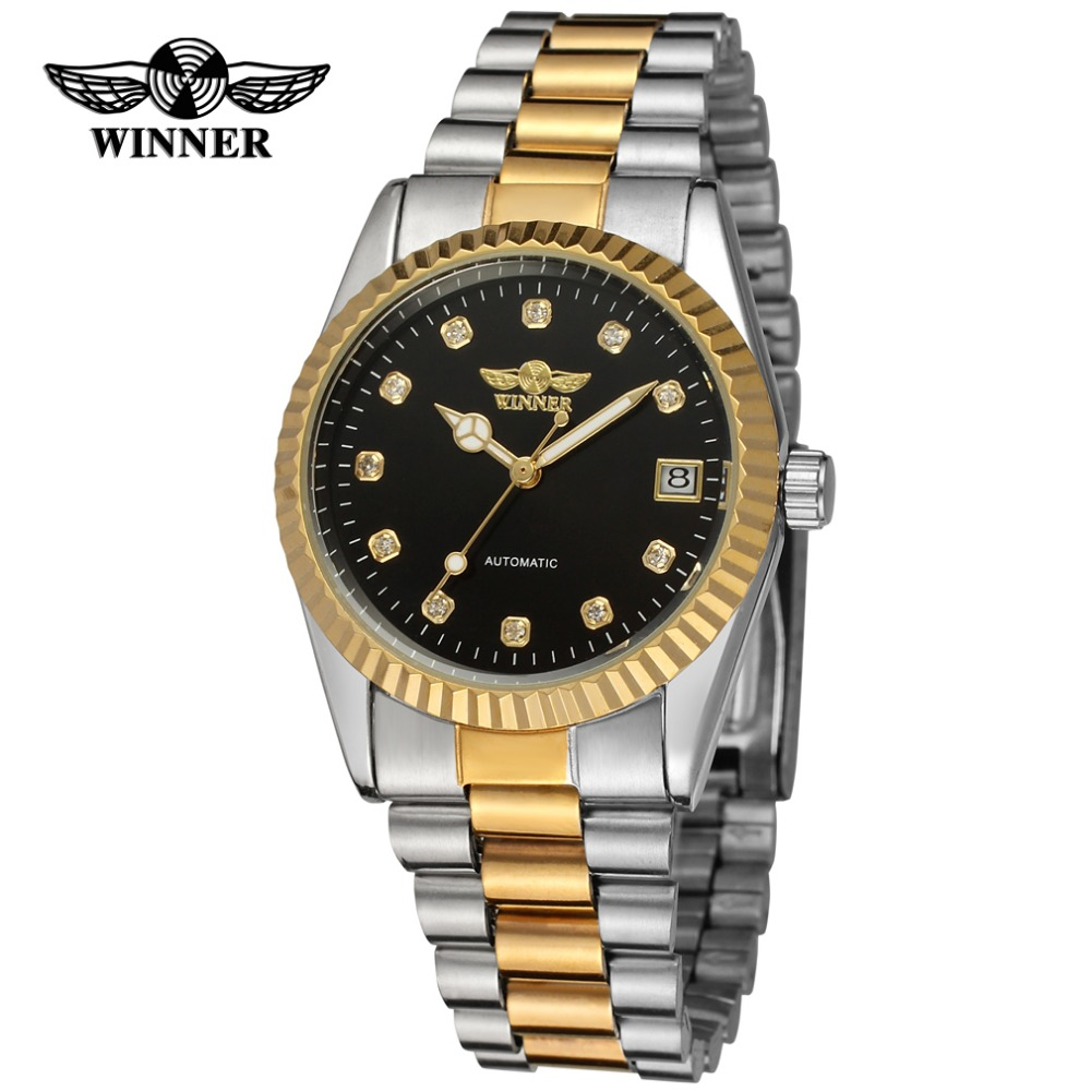 Fashion WINNER Men Luxury Brand Business Stainless Steel Watch Automatic Mechanical Date Wristwatches Gift Box Relogio Releges гель для ухода за кожей лица cedrat 50 мл
