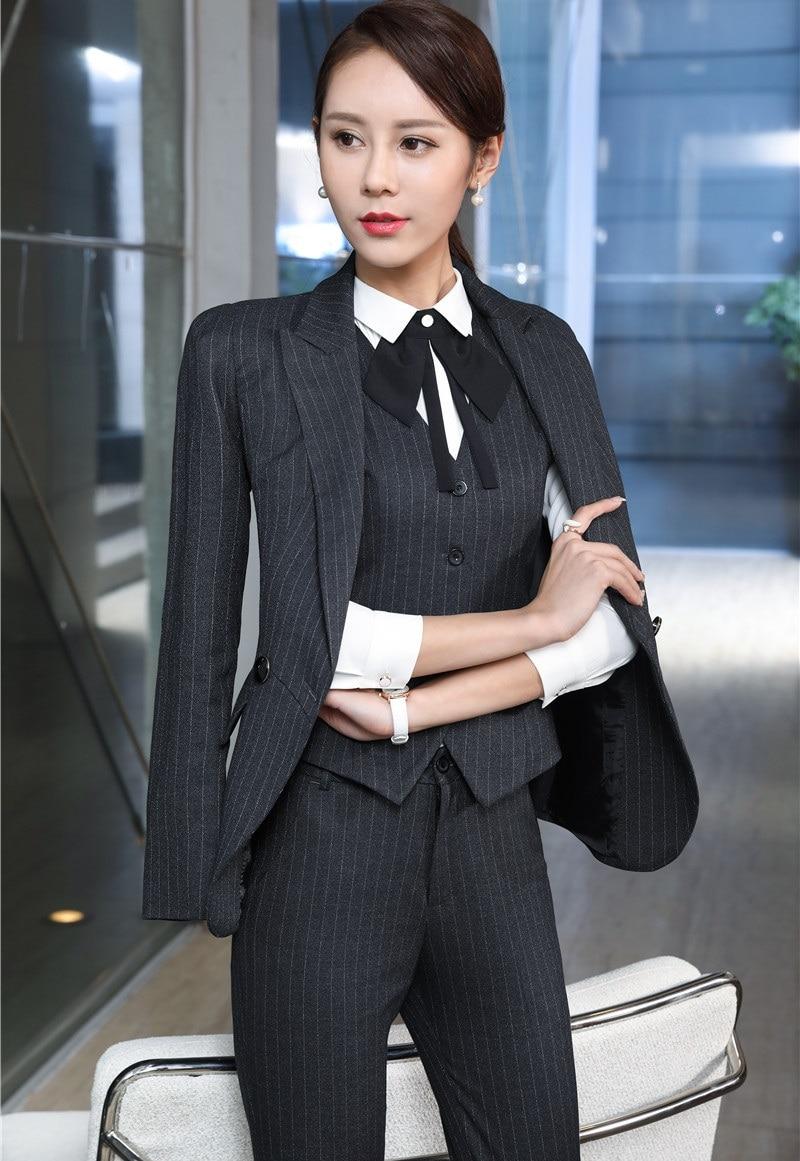 Professionnel Automne Rayé 11 D'affaires Femmes Hiver Uniformes Pantalon 4 6 12 2 Styles Mode 1 9 Bureau Costumes 8 10 Ol Tenues 3 Pantsuits 7 Formelle 5 Dames FI5qxdw