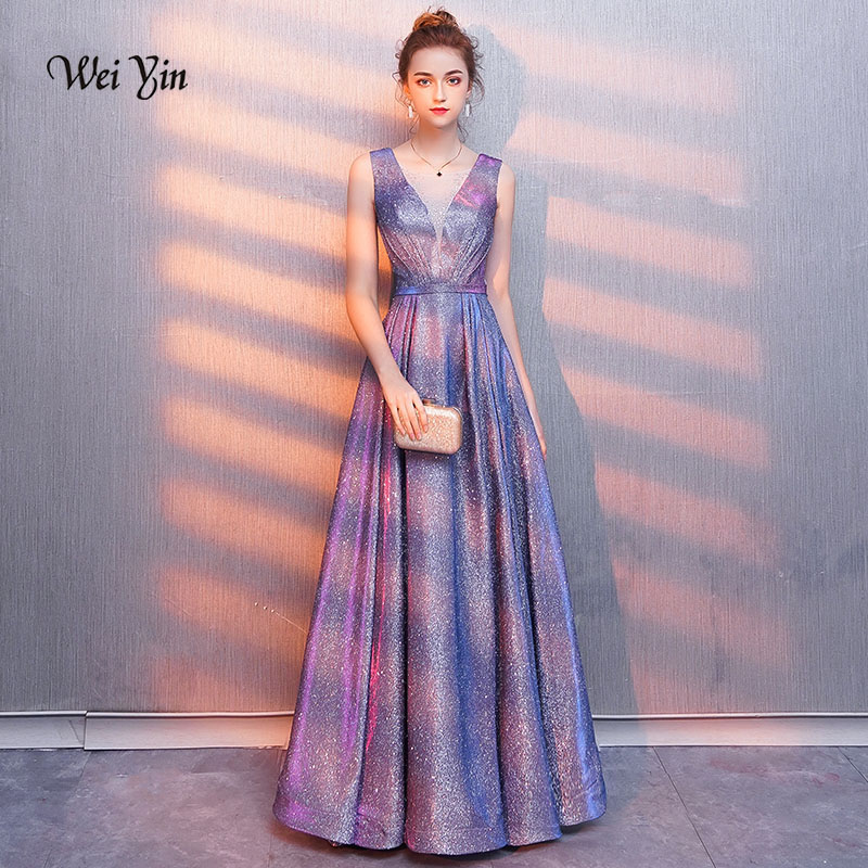 weiyin 2018 New V neck Sparkly Vestido de Festa Open Back Evening Gowns Elegant Sexy See Through Prom Dress Real Photo WY1008
