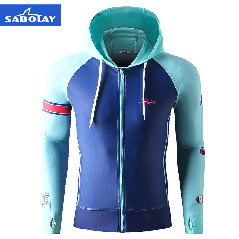 SABOLAY One Piece Men Elastic Surf Quick Dry Beach Swimsuit Coat Zipper Hooded Surfing Swim Rash