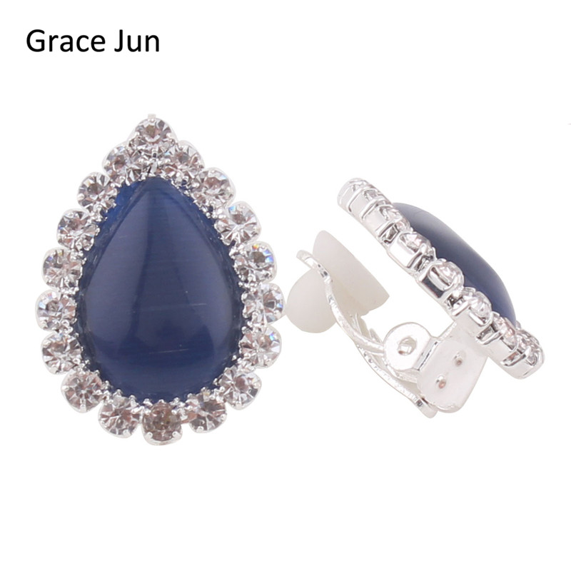 Grace Jun TM Bridal Rhinestone Crystal Opal Water Drop Clip on Earrings Non Piercing for Women
