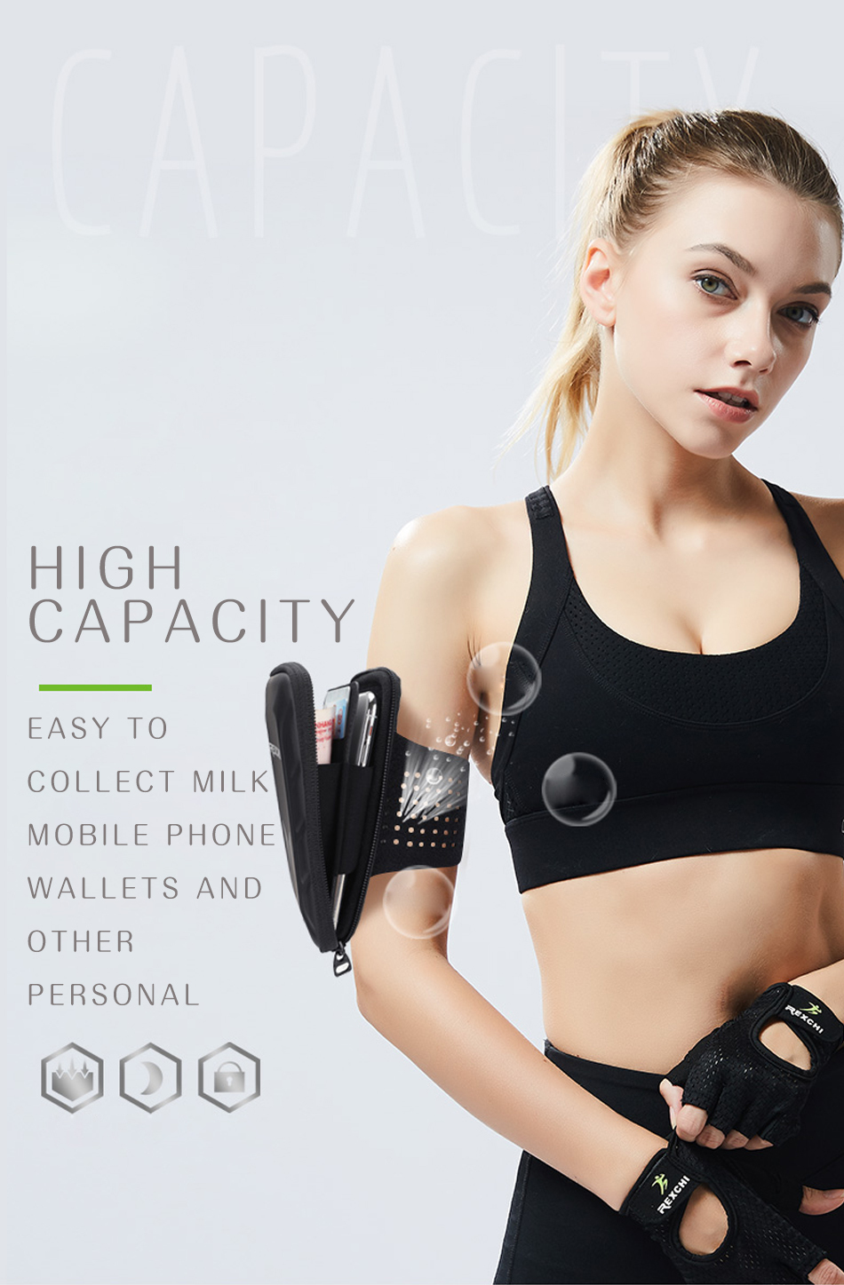 REXCHI Outdoor Trail Running Arm Bag Ultralight Waterproof Gear Women Sport Accessories Mobile Phone Holder Lady Fitness Wallet 13