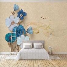 Custom 3d wallpaper modern minimalist beautiful tulip dynamic line TV background wall painting