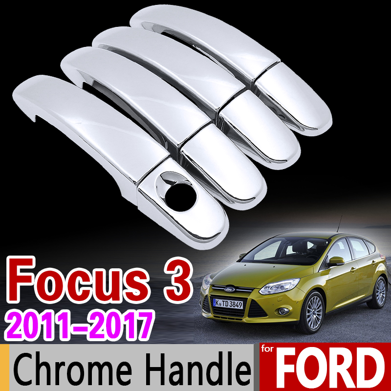 For Ford Focus 3 2011-2017 Chrome Handle Cover Trim Set MK3 MK3.5 2012 2013 2014 2015 2016 Car Accessories Stickers Car Styling for toyota isis platana 2004 2015 chrome handle cover trim set 2005 2006 2007 2008 2010 2012 2013 2014 accessories car styling
