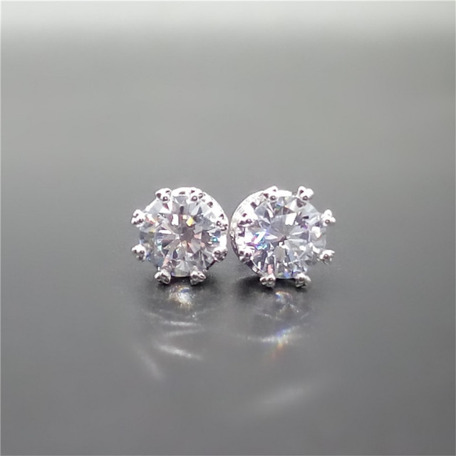 LASAMERO Diamond Stud Earrings Total 4ctw Round Simulated Diamond Earring Studs Prong Set Sterling Silver Earrings Fine Jewelry
