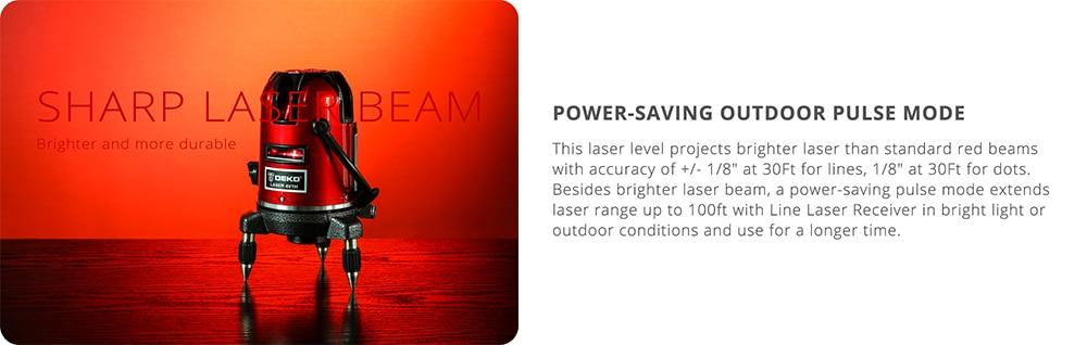 DEKO 5 линий 6 очков лазерный уровень автоматическое самонивелирование 360 вертикальные и горизонтальные наклона Открытый режим можно использовать w/приемник