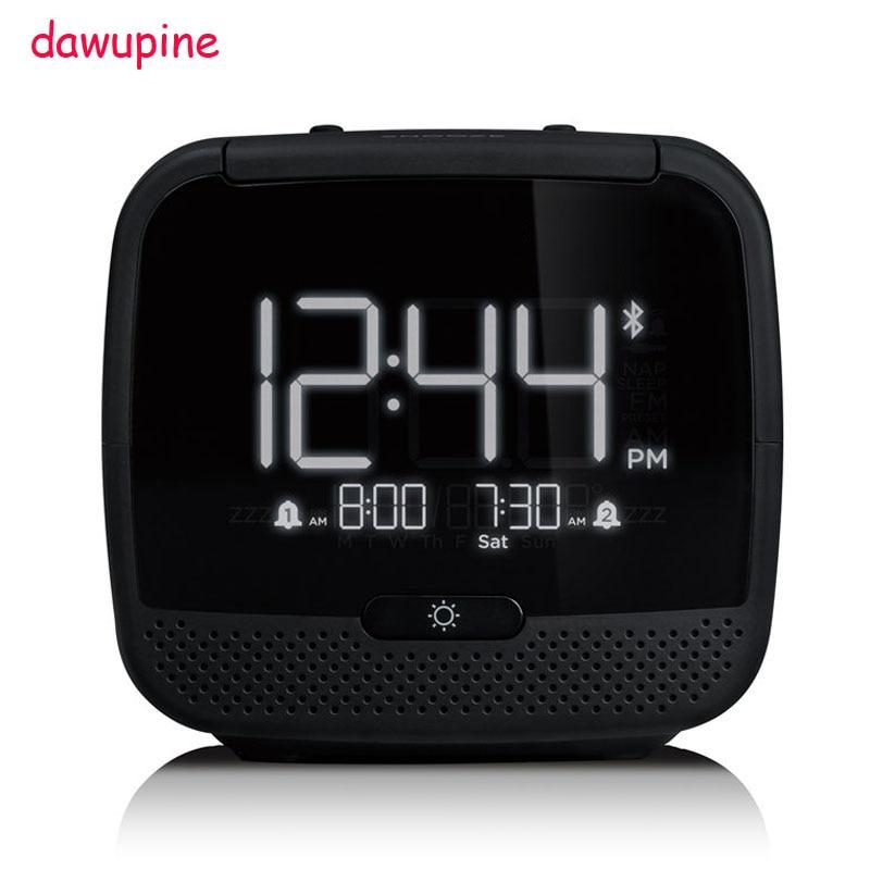 Dawupine Musique Réveil Bluetooth Haut-Parleur Nuit Contrôle de La Lumière FM Radio Lit Lié Température Date Semaine MP3 Lecteur USB Chargeur