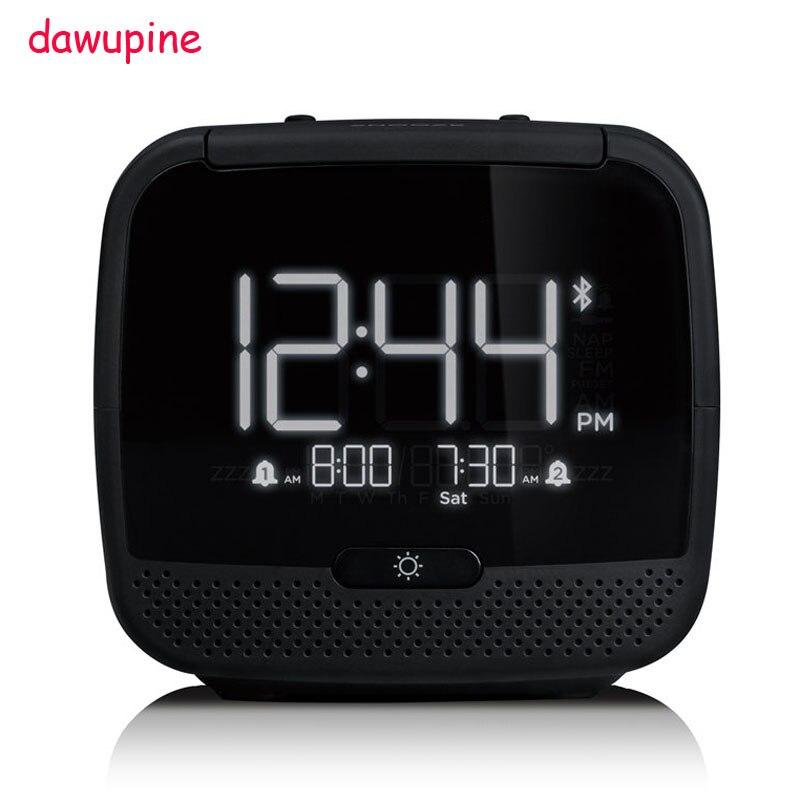 Dawupine musique réveil Bluetooth haut-parleur nuit lumière contrôle FM Radio lit lié température Date semaine lecteur MP3 USB chargeur