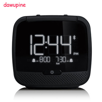 dawupine Music Alarm Clock Bluetooth Speaker Night Light Control FM Radio Bed Bound Temperature Date Week MP3 Player USB Charger