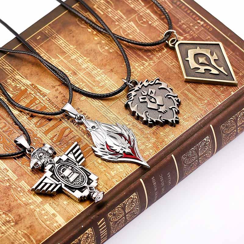SUROU 2018 Game World Of Warcraft Pendant Jewelry Men Neckalce Tribe Alliance Sign Pendant Necklace Handsome