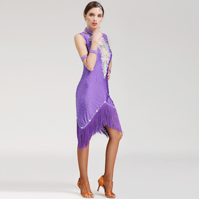 Picture of 5 Colors Latin Dance Dress Fringe Women Latin Dress Dancing Clothes Dancewear Dress Latina Salsa Latin Dance Costumes For Women