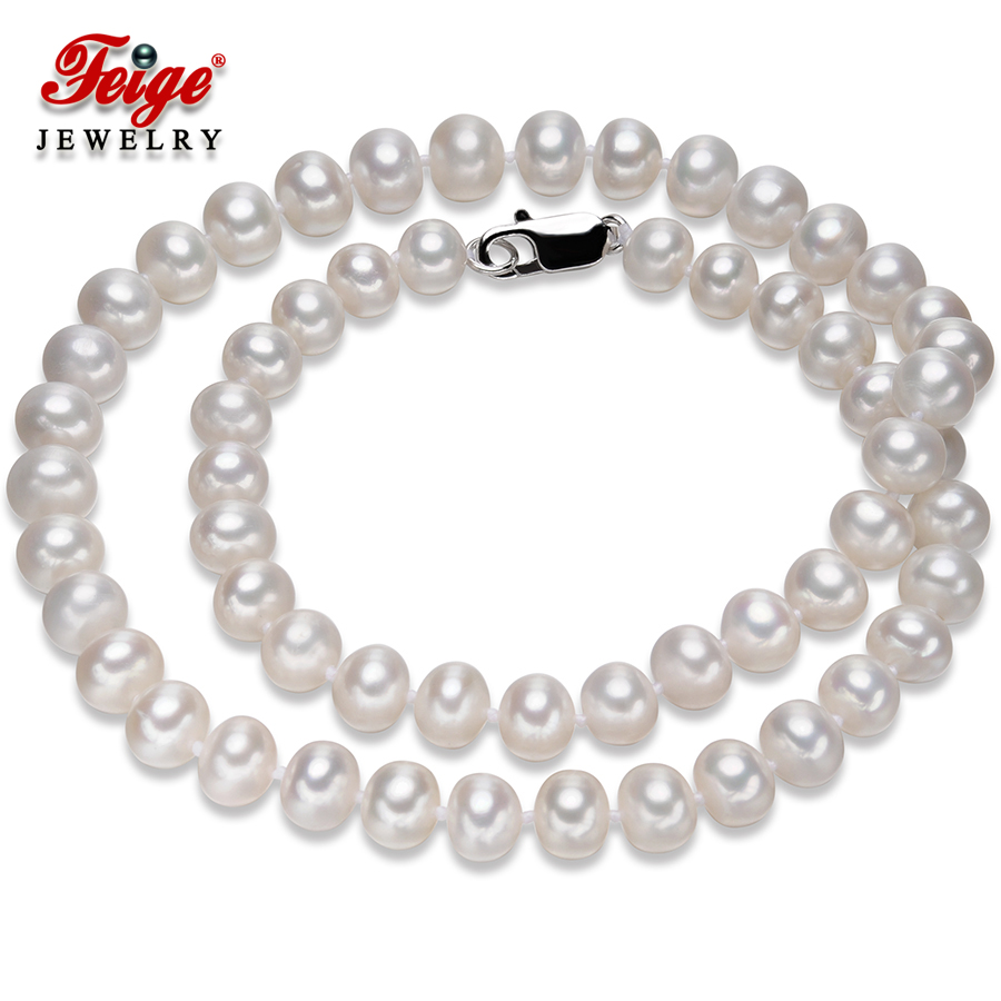 Կլասիկ սպիտակ բնական մարգարիտ վզնոց կանանց համար Հարսանեկան զարդեր