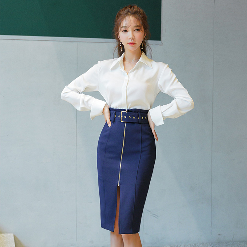c937d18554e8546 Офисный Женский комплект из 2 предметов блузка с отложным воротником и  поясом на молнии облегающая юбка