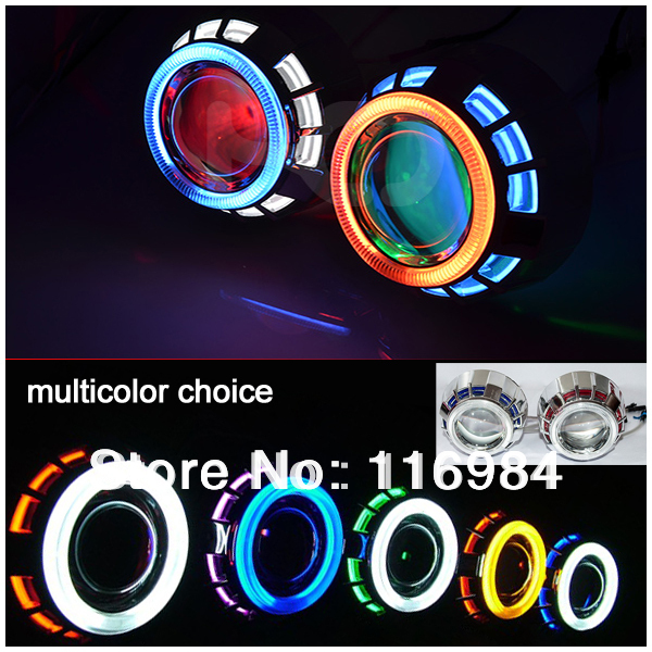 2pcs x 3inch Projector Lens CCFL Double Angel Eyes 35W HID Bi-xenon Double Headlight For H1 H3 H7 H11 9005 9006 2 5inch bixenon projector lens with drl day running angel eyes angel eyes hid xenon kit h1 h4 h7 hid projector lens headlight