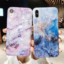 Conch shell marble phone case for iphone 7plus xsmax shiny dream smooth colorful 7 6 6s 8 plus xr x xs max