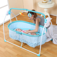 Fashion Big Space Electric Baby Crib/ Infant Rocker, 100*55 cm, 6 KG Plus Mosquito Net, Baby Swing Bed Baby Cradle