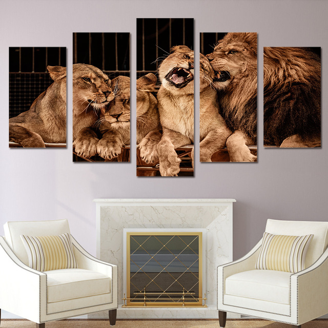 5 Pieces Canvas Prints Lion Zoo painting Wall Art Panels Poster ...