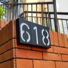 Светодиодный светильник на солнечной энергии, знак, дом, отель, дверь, адрес, табличка, наружная стена, светодиодный табличка с цифрами, лампа для дома, знак высокой яркости