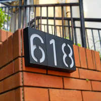 LED Solar Power Light Sign House Hotel Door Address Plaque Outdoor Wall Led Number Digits Plate Lamp Home High Brightness Sign