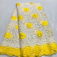 High Quality African Lace Fabric Yellow Color French Net Embroidery Rhinestones Tulle Lace Fabric For Nigerian Party Dress