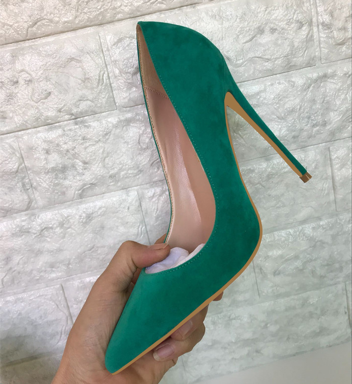 New Spring 2019 Green Suede Pointed High Heels Slim-heeled Single Shoes Women's Shallow Mouth Women's Shoes 10cm Red High Heels