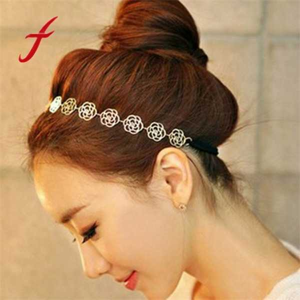 Lovely Hair Accessories Metallic Sweet Lady Hollow Rose Flower Hair Band Gold Elastic Hair Band Hair Accessories For Women