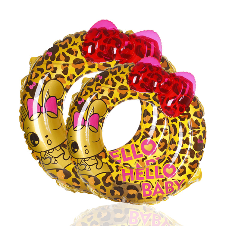 Fashion Leopard Pattern Thicken Parent-child Swimming Circle Summer Children Swimming Circle Cartoon Swimming Float For Toddler