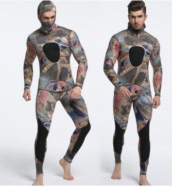 3mm Scuba Diving Suit Long Sleeve Camo Color Full Body Warmth Sunblock Surf Wetsuit With Headgear Men's  Neoprene Sport Swimwear slinx two piece men camouflage wet suit swimwear with headgear 5mm neoprene camo scuba diving suit for fishermen spearfishing