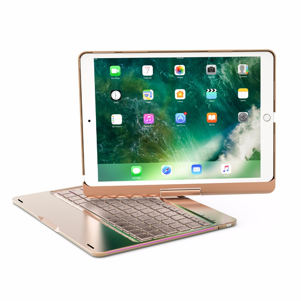 GrassRoot Wireless Bluetooth Aluminum Keyboard Case For IPAD PRO 9.7 10.5 Inch 360 Degree Keyboard 7COLOR Backlit Folio Cover aluminum keyboard cover case with 7 colors backlight backlit wireless bluetooth keyboard