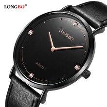 Fashion LONGBO Luxury Brand Diamonds Elegant Men Ladies Dress Wristwatches Analog Quartz Watch Casual Leather Couple Watch