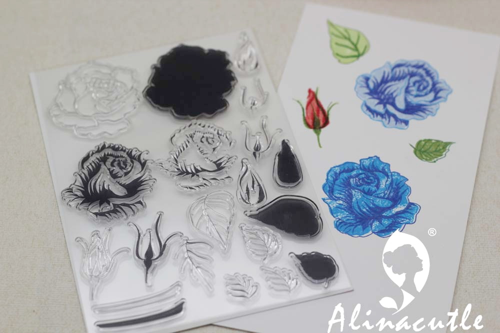 Us 2 15 Alinacraft Clear Stamps Layered Rose Floral Flower Scrapbooking Card Paper Craft Silicon Rubber Roller Transparent Stamp In Stamps From Home