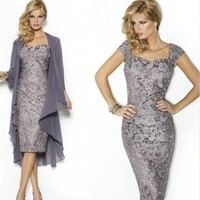 Elegant Gray Mother Of The Bride Dresses With Jacket Lace Sheath Knee Length Short Evening Party