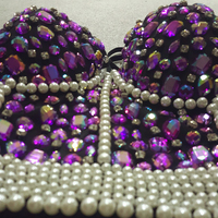 High Quality Handmade Sexy Strip Night Club Bra Top Crystal Rhinestone Embroidered Tank Top Jeweled Pearl