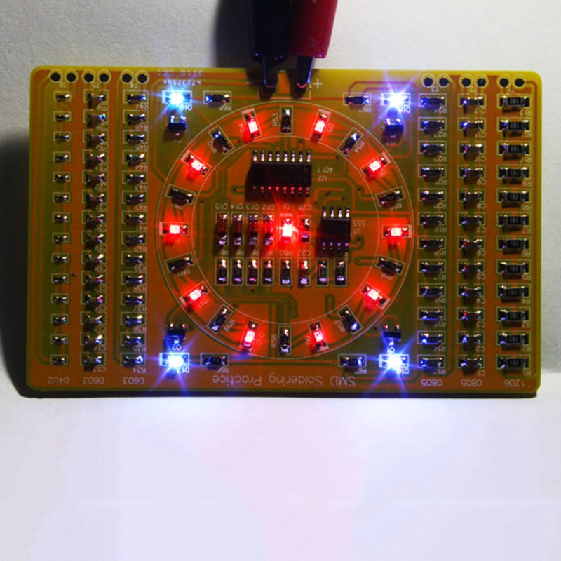 Patch Component Welding Practice Board Soldering DIY Kit Diode Transistor By Start Learning Electronic Flow Light Kit