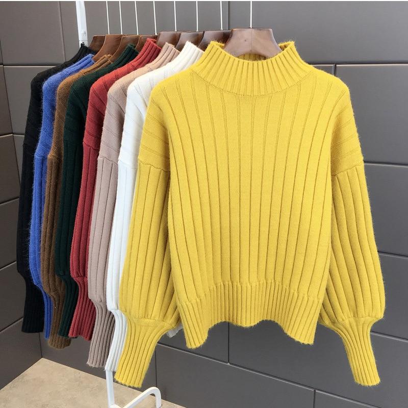 Lantern Sleeve Turtleneck Sweater Women Pullover Knitted Womens Sweaters Jumpers Ladies Sweater Female Winter Tops Truien Dames