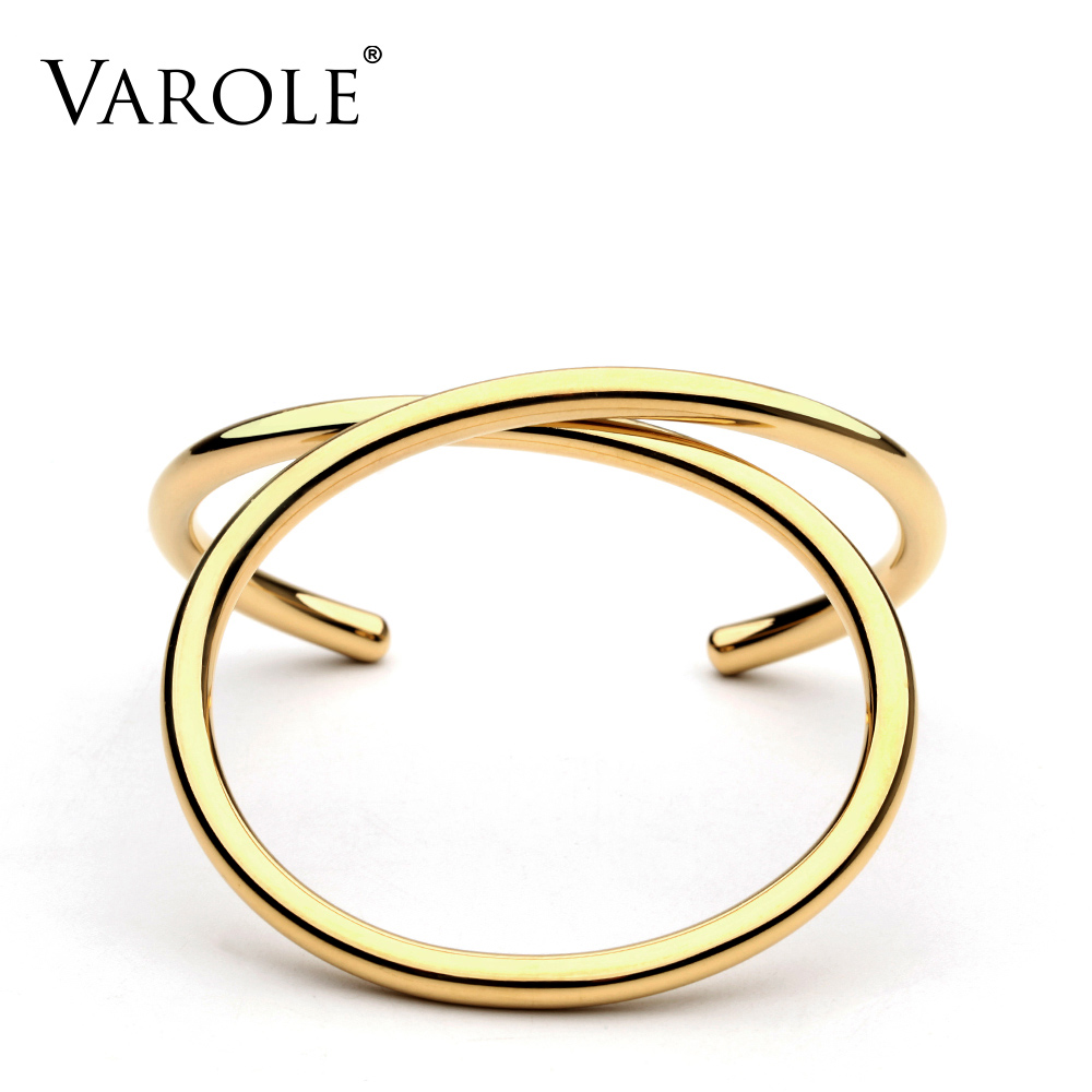 VAROLE Simple Lines Exaggerated Cuff Bracelets & Bangles Gold Color For Womens Brand Summer Metal Bangle Pulseiras Gifts Jewelry