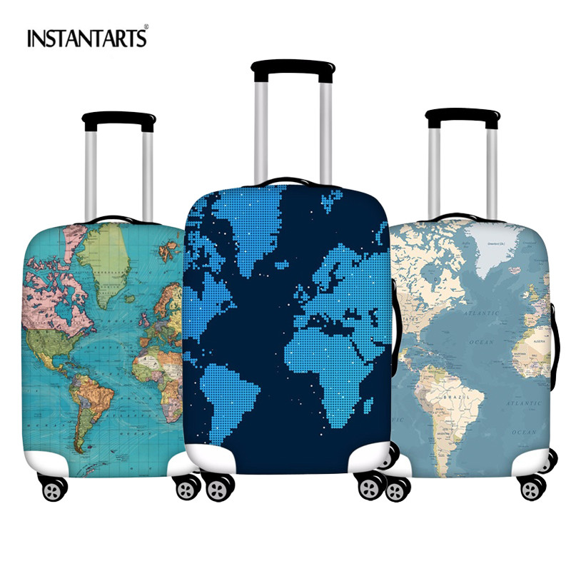 INSTANTARTS World Map Elastic Thick Luggage Cover For Trunk Case Apply To 18''-30'' Suitcase Protective Cover Travel Accessories