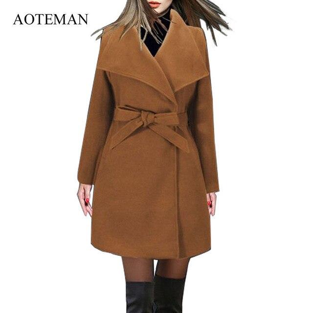 AOTEMAN Lange Winter Mantel Frauen Neue Mode Lässig Vintage Gürtel Solide Jacken Blazer Elegante Büro Damen Mantel Casaco Feminino