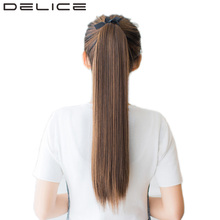 DELICE 22inch Clip In Long Straight Ponytails Ribbon Heat Resistance Synthetic Hair Pony Tail Hair Extensions