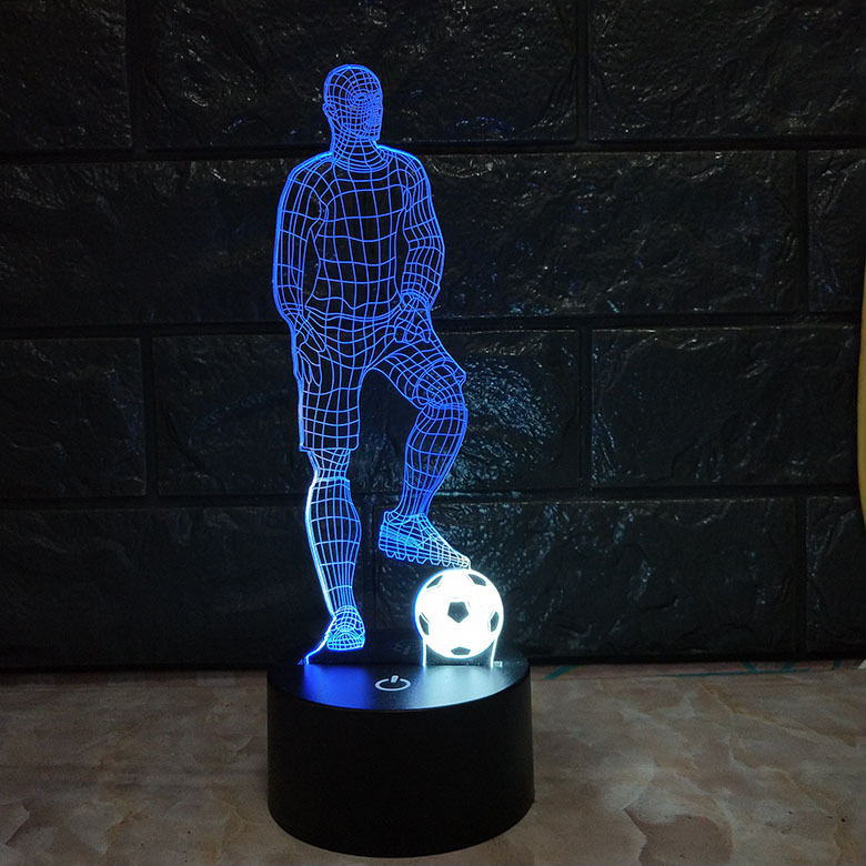 Football 3D Stylish Lamp Touch Sensor Soccer Shaped 3D Light For Soccer Sports Fans Best Gift 7 Color Changing Lighting