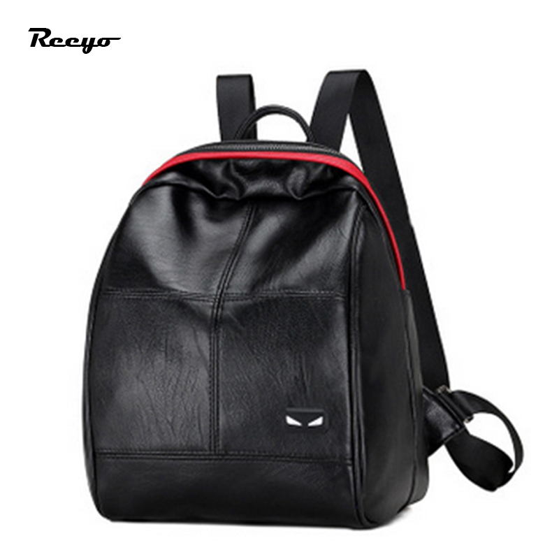 New PU Leather Backpack for Women Black School Shoulder Bag Girls Casual Bags Student Small Fashion